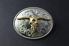 Schädel eines Longhorn BULL Gürtelschnalle Gold & Silber Oval Western American Cowboy