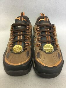 76829 Skechers Men Work Sparta Command EH Safety Toe Shoe Brown/Orange Sz 7 #MB