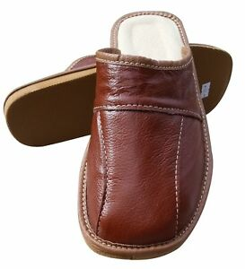 Men's Leather Slippers Slip On Shoes Size 6.5-11 Brown Luxury Mules Scuffs Slide