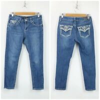 Love Indigo 6 Womens Medium Wash Flap Pockets Skinny Ankle Denim Jeans
