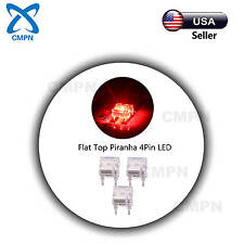 100Pcs Red Piranha Super Flux 4Pin Flat Top Wide Angle Water Clear LED Diodes