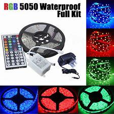2/3/5/10M SMD 5050 RGB 300/600 LED Strip Lights Adapter IR Remote Waterproof 12V