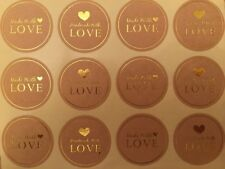 Round Paper Labels 'Hand made with love' Gift Food Kraft Craft Stickers GD