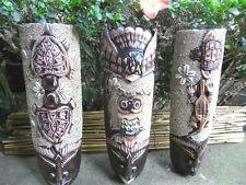 Bali carved  Masks x 3 pieces (sand & shell design) x 32cm - wall hanging