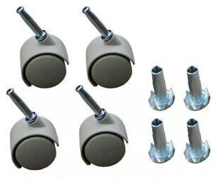 8 x Twin wheels Castors in Beige & Inserts-For Divan Bed Base Sofa Settee Chair
