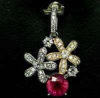 PINK RUBY & WHITE CZ FLOWER PENDANT 925 STERLING SILVER JEWELRY