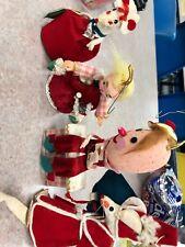 Vintage Felt Christmas Ornaments Humpty Dumpy Mice Little Girl