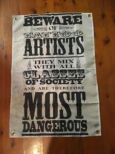 Tattoo biker Printed poster banner sign man cave flag mancave ideas mens gift