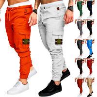 Men's Cargo Trousers Elastic Waist Tracksuit Bottoms Joggers Pants Sweatpants UK