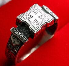 XVII C. RUSSIAN/GREEK ORTHODOX SILVER RING w/ CROSS.NEW. PRECIOUS CROSS PRAYER