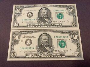 2 Sequential $50 Notes Philadelphia Reserve 1969C