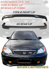 TR-Style Front Lip + RS Style Rear Lip Fits 01-03 Civic 4dr
