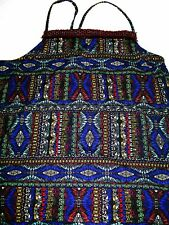 Next Fringe Cami Top tribal print blue vest top sleeveless blouse Size 14 T New