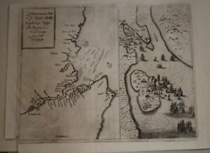 THAMES RIVER LONDON ENGLAND 1670 BOUTTATS UNUSUAL ANTIQUE COPPER ENGRAVED MAP