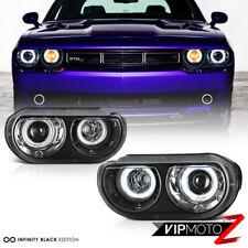 """[FOR HALOGEN MODEL] 2008-2014 Dodge Challenger """"CCFL ANGEL EYE"""" Black Headlights"""