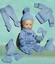"""Knitting Pattern Vintage Baby Boy Dolls Clothes 11-13-15"""" Double Knit"""