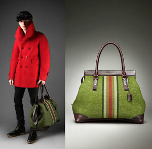 Stunning Burberry Prorsum Leather & Felt Racing Green Travel Weekend Bag