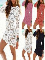 Sexy Women Lace Crochet Bathing Suit Bikini Swimwear Cover Up Beach Dress Skirt