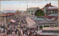 Long Beach, CA 1910 Postcard: On the Pike/Boardwalk - California Cal