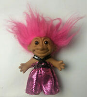 """Vintage Russ 5"""" Troll Doll - Pink Shiny Bodysuit Party/Disco Themed - Pink Hair"""