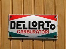 "DELL´ORTO CARBURATORI PORCELAIN SIGN ~7-3/4"" x 3-7/8"" CABURETOR MOTORCYCLE GAS"