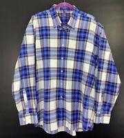 Alan Flusser Mens Vibrant Blue Plaid Casual To Dressy Shirt L/S Button Front XL