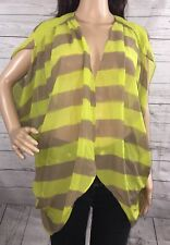 BCBGeneration Sheer Cover Up M/L Lime Green Gray Abstract Stripe Summer Shirt