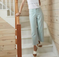 NWT A New Day Wide Leg Crop Pants High Rise Aqua Blue Stretch Women's 2 XS