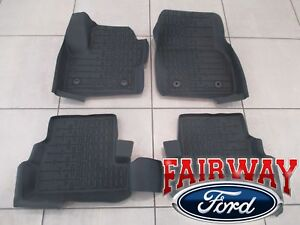 17 thru 19 Lincoln MKC OEM Ford Tray Style Molded Black Floor Mat Set 4-pc