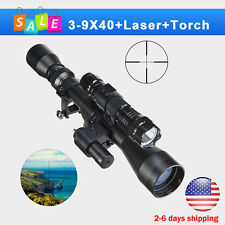 3In1 Tactical 3-9X40 Optical Sniper Hunting Rifle Scope Combo Red Laser Torch