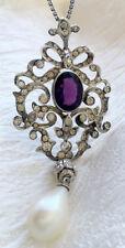 Antique Victorian Look 925 Silver Pendant 2.40ct Rose Cut Diamond Amethyst Pearl