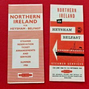 BR HANDBILL BROCHURE NORTHERN IRELAND  VIA HEYSHAM - BELFAST X 2 1956/1960