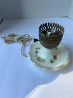 Vintage Milk Glass Hurricane Boudoir Vanity Table Lamp No Shade