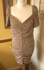 River Island Ruched Bodycon  Nude Gold Wiggle Dress Size 14
