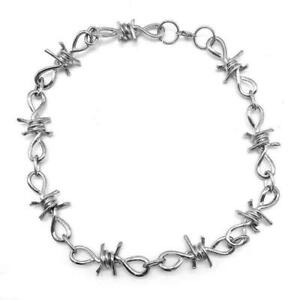 """Punk Rock Emo Gothic Silver Barbed Wire Chain Barb Necklace 19.1"""""""