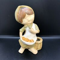 Vintage UCTCI Pottery Ceramic Young Girl Basket & Fruit Figurine Semi-Glazed