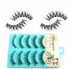 5Pairs Girl Black Handmade Messy Natural Cross False Eyelashes Beauty Supplies