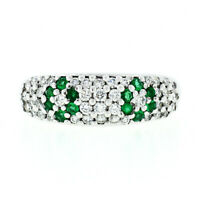 Fancy 18K White Gold 0.68ctw Emerald Diamond Dome Bombe Flower Cluster Band Ring