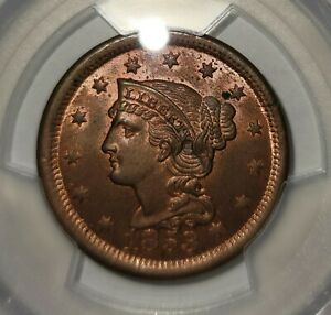 1853 1 Cent Coin PCGS MS 64 RB