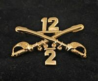 """🌟US Army 2/12 Cav 12th Cavalry 2nd Battalion Gold Crossed Sabers Hat Pin 1-1/2"""""""
