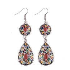 Bohemian Boho Style Beads Ear Red Round Water Drop Fashion Women Hook Earrings