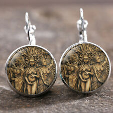 cabochon 18 Mm Lever Back Earrings 1 pair Triple Goddess Silver Trendy Glass