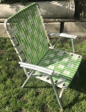 Vintage Lawn Chair Mid Century Aluminum Green Folding Chair Webbing VTG MCM
