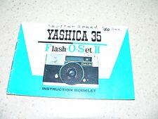 Original Yashica 35 Flash-O-Set II Camera Instruction Manual~Good Condition