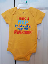 "Baby Boy "" Exhausting Being This Awesome"" Attitude Creeper Sunray Yellow - 12m"