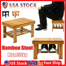 Children Durable Bamboo Bench Bathroom Stepping Chair Foot Rest Stool Storage Us