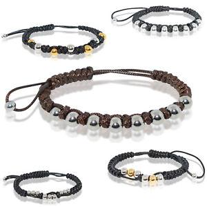 Damen Amband Seil Gestrickt Flechten Perlen Beads Armreif Schwarz Braun Silber