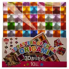 """JAPANESE Origami 10 Sheets 5.9"""" Square 3 D Multicoloured Check Pattern"""