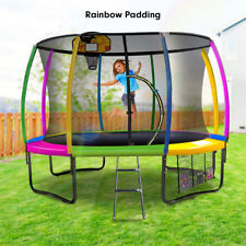 10ft Trampoline Safety Net Spring Pad Cover Mat Ladder Shoe Bag - Rainbow