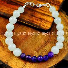 Natural 6-10mm White Aventurine & Amethyst Round Gemstone Beads Bracelets 7.5''